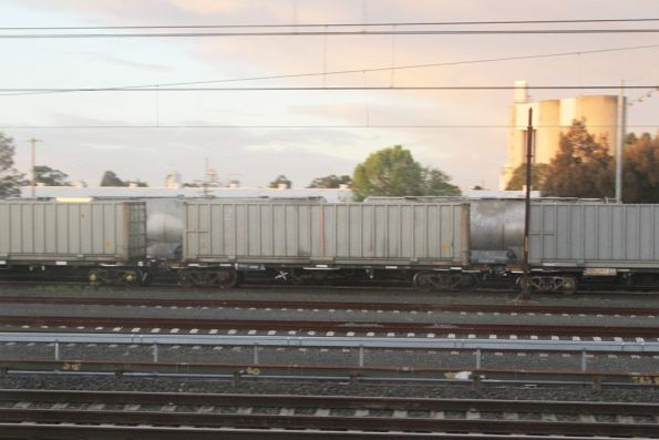 Container wagons for the garbage train stabled at Clyde Yard
