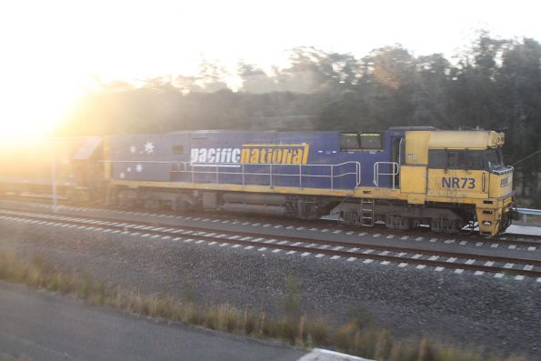 NR73 on the quarry train at the Holcim siding at Rooty Hill
