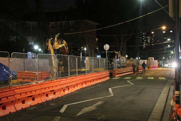 Track laying under way along Devonshire Street at Crown Street, Surry Hills