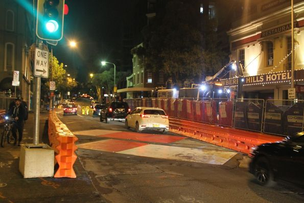 Track laying under way along Devonshire Street at Elizabeth Street, Surry Hills