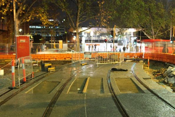 Short section of track laid across Chalmers Street at Devonshire Street, Haymarket