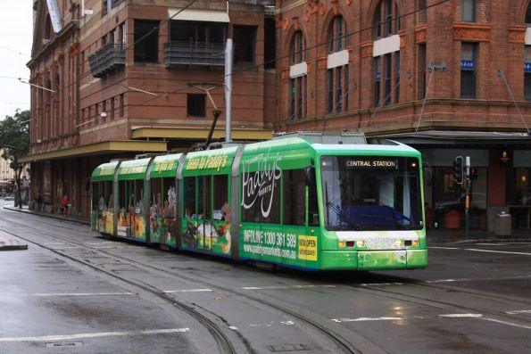 Variotram 2107 in Paddy's Market livery heads into town along Hay Street