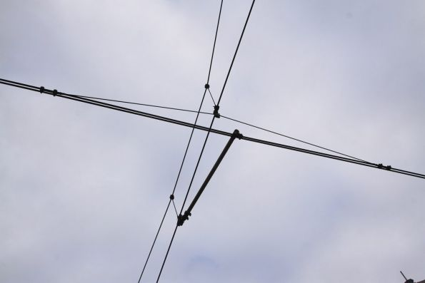 Double contact wire overhead along Hay Street