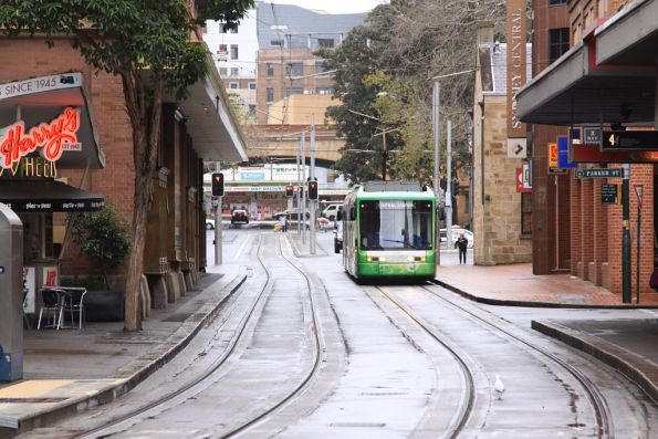 Outbound Variotram 2107 in Paddy's Market livery heads west along Hay Street