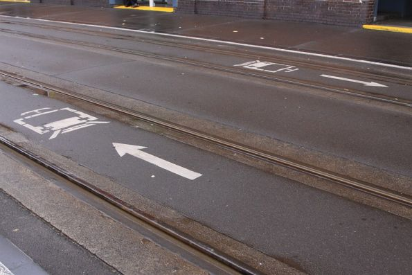 Direction arrows on the tram tracks along Quay Street