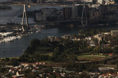 Can you see the tram crossing the Wentworth Park viaduct in Lilyfield?