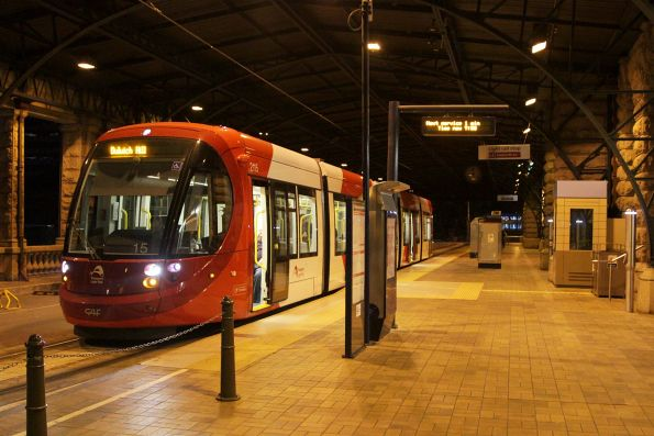Urbos 3 LRV 2115 awaiting departure time from Central Station