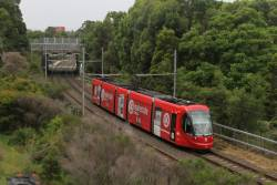 Urbos 3 tram 2122 heads for Dulwich Hill at Arlington