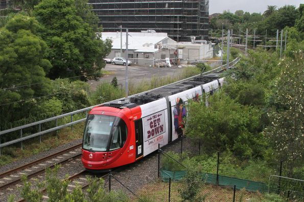 Urbos 3 tram 2120 heads for the city at Arlington
