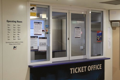 Abandoned ticket office at the unmanned Chinatown station