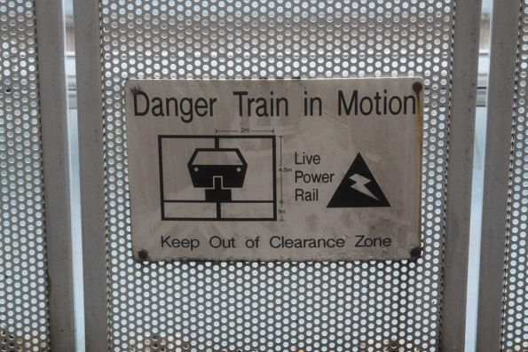 'Danger Train in Motion' sign