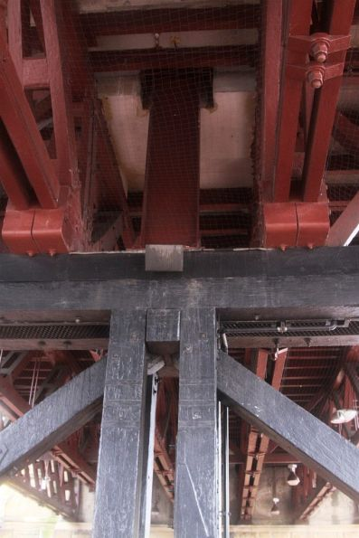 Monorail beam attached to the Pyrmont Bridge timber truss spans