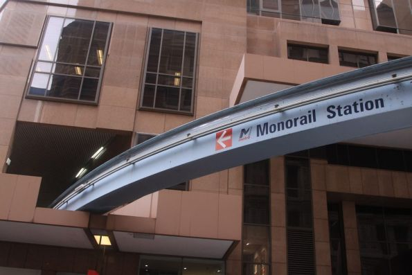 '<- Monorail Station' sign outside the City Centre station