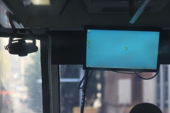 Windows 7 desktop on display inside the monorail cab