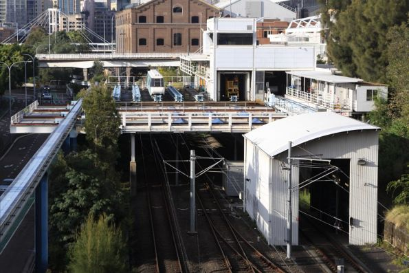 Looking south over the Monorail depot, with the Light Rail depot is below