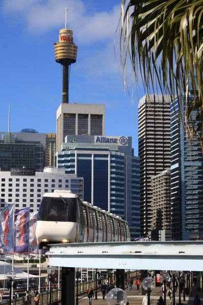 Arriving into Harbourside station, with Sydney Tower in the background