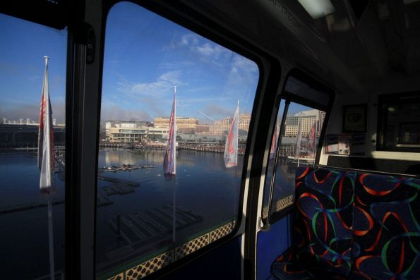 Looking out onto Darling Harbour from the monorail