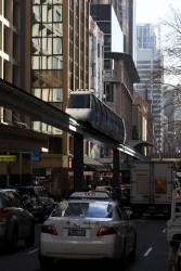 Monorail approaches the Galeries Victoria station on Pitt Street