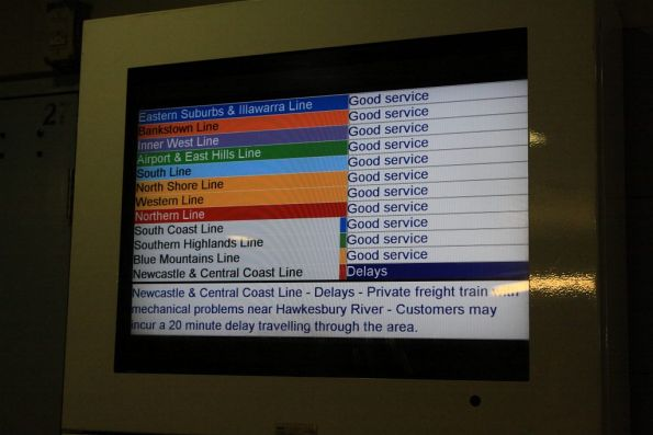Newcastle and Central Coast Line delays: due to private freight train with mechanical problems!?