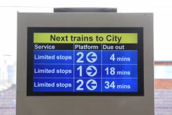 'Next trains to City' display at Cronulla