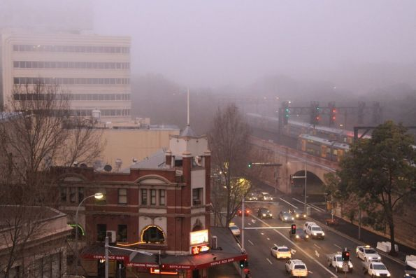 Morning fog covers the City Railway viaduct in Belmore Park
