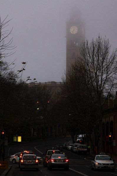 Fog shrouds the Sydney Central clock tower