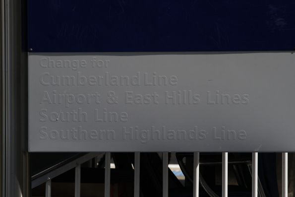 Blanked out 'change for' signage at Campbelltown station