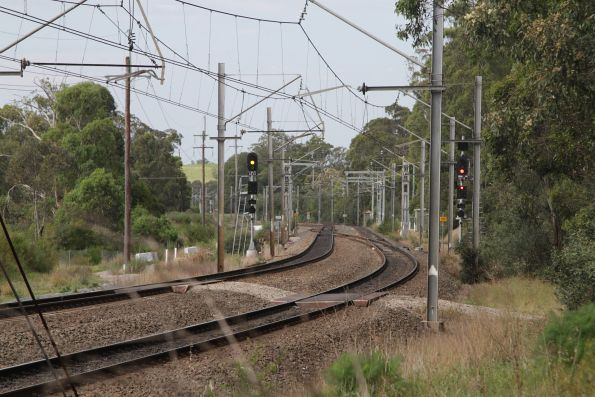 Looking up the line towards Macarthur station from the Glenlee traction substation
