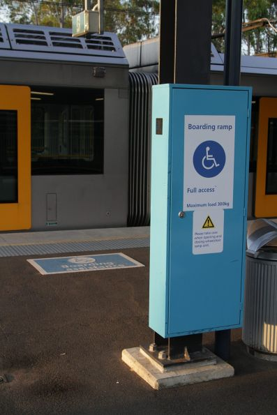 Wheelchair boarding ramp stowed away at Macarthur station
