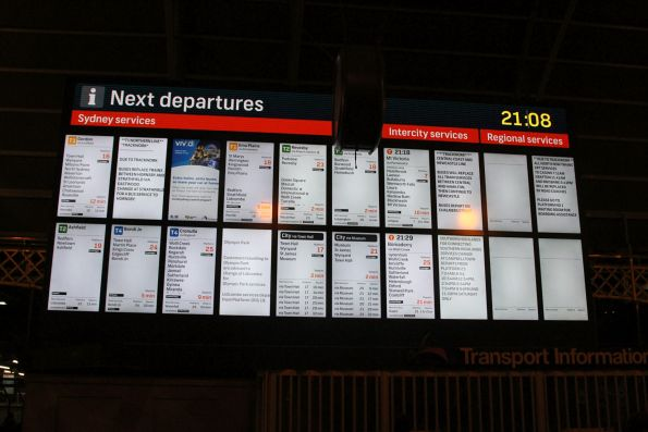 LCD screens form the departure board on the Grand Concourse at Central Station