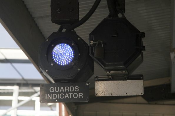 Mid of white and blue LEDs in the guards indicator at Flemington station