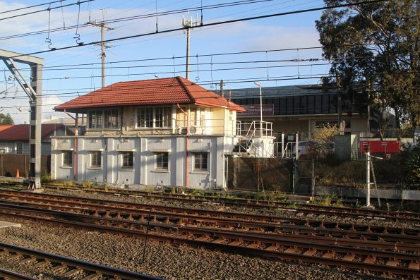 Disused signal box at Lidcombe station