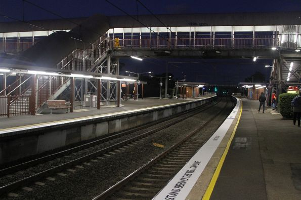 Night falls at Rooty Hill station