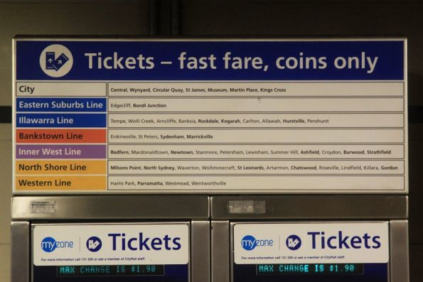 Coin only 'fast fare' ticket machines