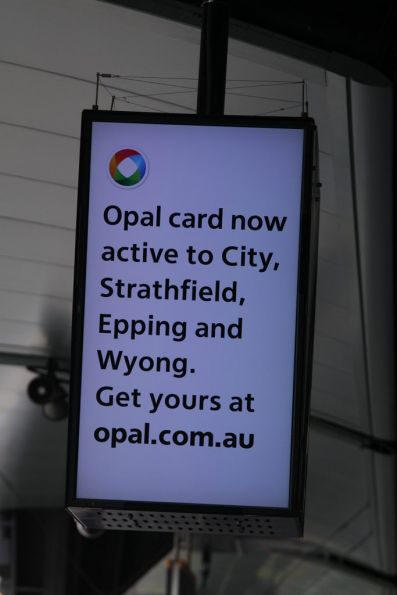 'Opal card now active' message on a next train display