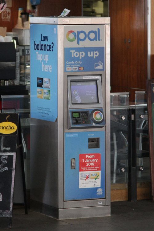Credit card only Opal card top up machine at the Circular Quay ferry pier