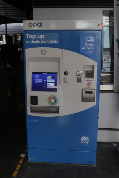 Opal card top up and single trip ticket machine at the Circular Quay ferry pier