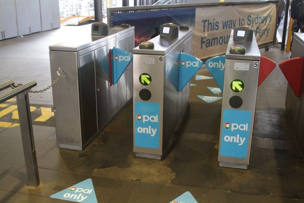 Opal card only ticket barriers at the Circular Quay ferry piers