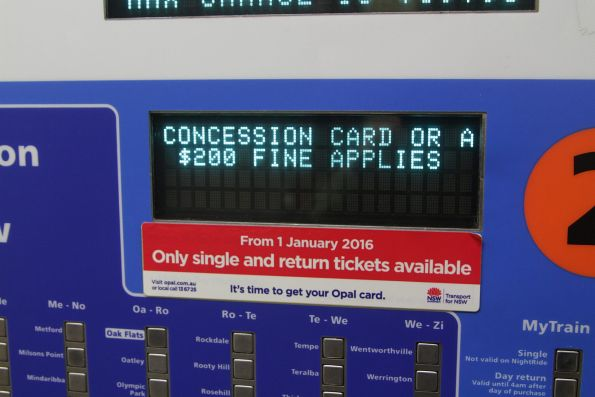 'From 1 January 2016 only single and return tickets available' notice on a ticket machine