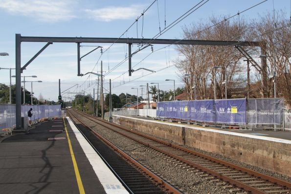 Temporary footbridge at the up end of Marrickville station has been dismantled