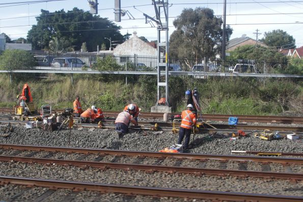 Welding up new rail on the main Illawarra lines at Sydenham
