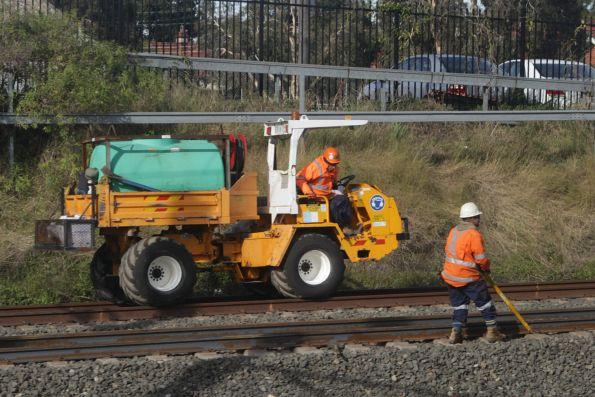 Laying new rail on the main Illawarra lines at Sydenham