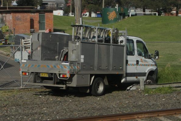 Sydney Trains truck at the worksite on the main Illawarra lines at Sydenham