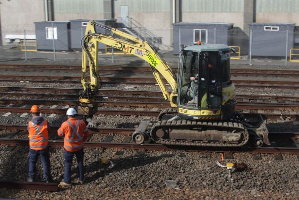 Hi-rail excavator at work in the yard at Eveleigh