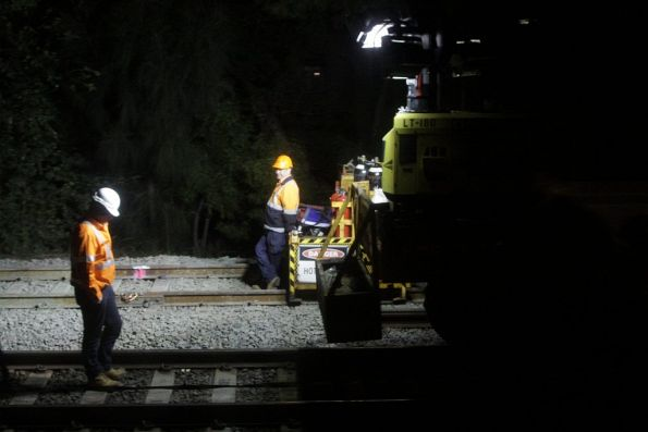 Night time trackwork on the main Illawarra lines at Erskineville