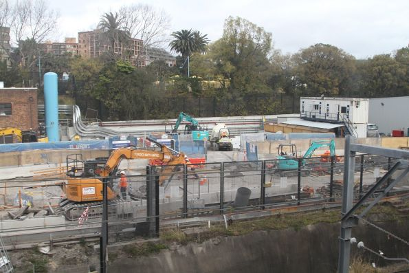 Sydney Metro works underway on the eastern side of the rail corridor at Central