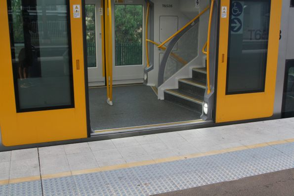 Almost level boarding to this Waratah set awaiting departure time at Macarthur station