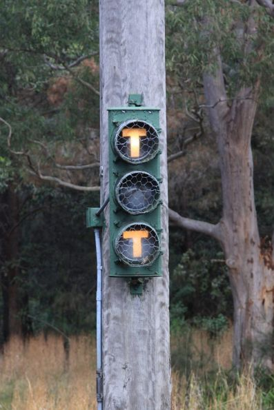 Tram signals for the Princes Highway level crossing on the National Park line