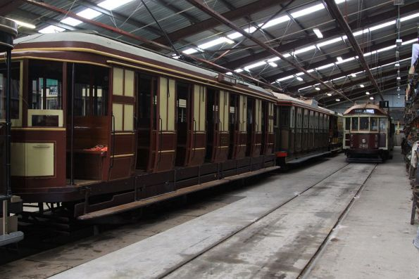 Trams stabled in the display shed
