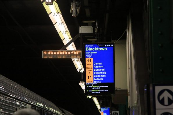 'Doors close in 11 seconds' countdown on the screens at Town Hall station